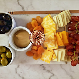 Cheese Tray by JEFFREY LORBER - Food & Drink Meats & Cheeses ( mustard, olives, toothpicks, lorberphoto, apricots, cheese, grapes )