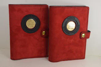 Photo: P0418 (left or right $49.95) Chrome Tanned Red color Suede leather Portable Paperback Big Book (Medallion Holder and Snap & Strap)