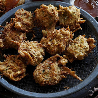 Indian Vegetable Fritters with Coconut Sambal Sauce.