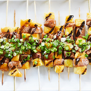 Sweet-and-Sour Pork Skewers with Pineapple.