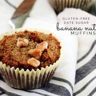 Gluten-Free Banana Nut Muffins with Date Sugar.