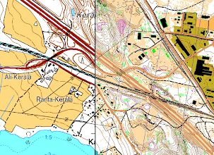 Photo: A topographic map and Karttapullautin map side by side