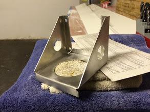 Photo: Folded aluminum mount for the GMU-44 magnetometer