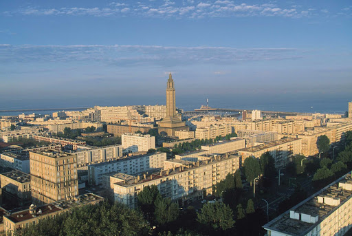 The architecture of Le Havre reflects the work of architect Auguste Perret after the city was heavily bombed during WWII.
