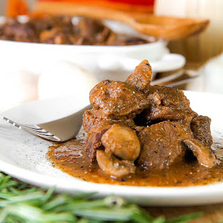 WILD BOAR RECIPE with mushroom and red wine