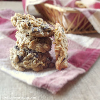 Vegan Peanut Butter Oatmeal Chocolate Chip Cookies.