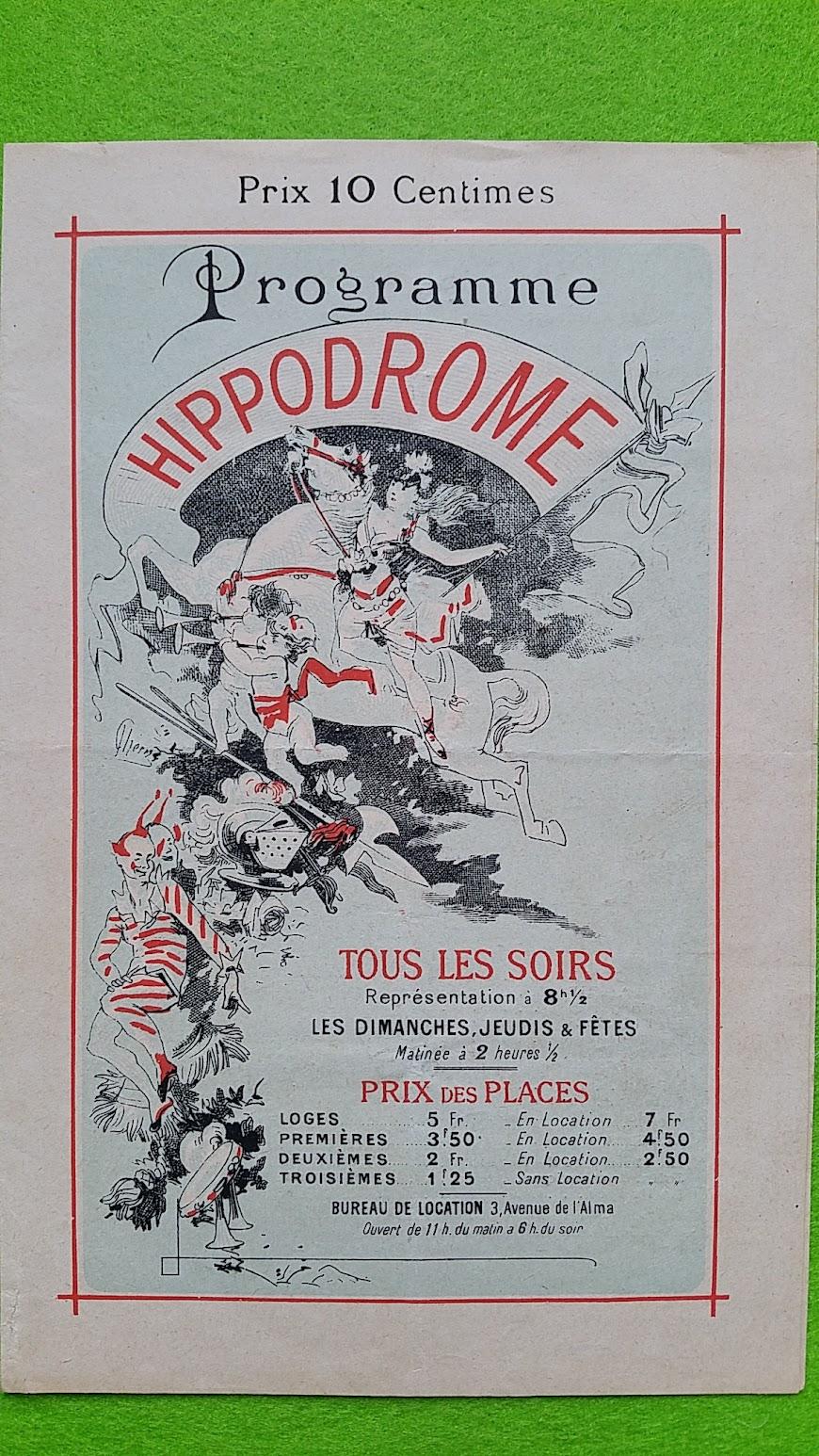 Revue-Programm aus Paris, 1895, Hippodrome