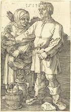 Photo: Albrecht Dürer (German, 1471 - 1528 ), Peasant Couple at Market, 1519, engraving, Rosenwald Collection