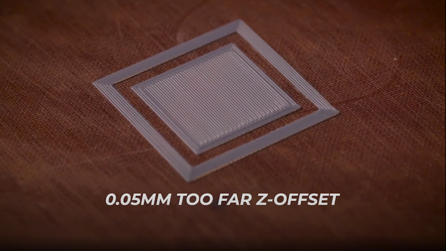 A calibration 3D print with the Z-Offset set approximately 0.05mm too far.
