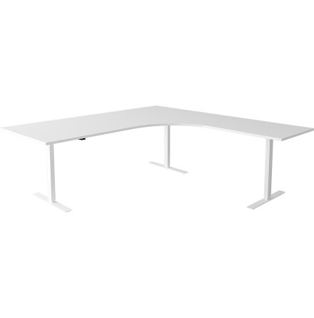 Hörnskrivbord el vit/vit 1800/