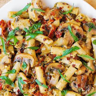 Pesto Chicken Pasta with Mushrooms.