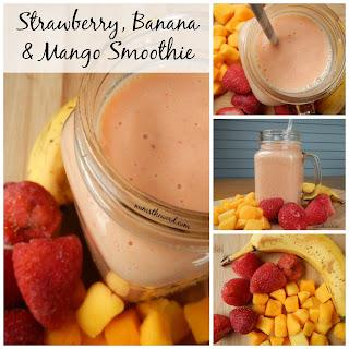 Strawberry, Banana & Mango Smoothie.