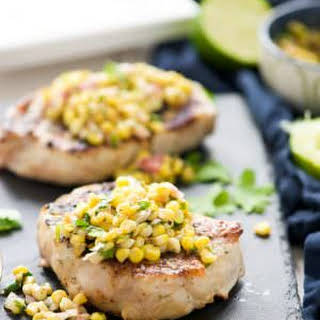 Ranch Pork Chops with Grilled Jalapeno Corn Salsa.