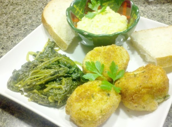 Serve the fritters w/ the white garlic sauce and veggie of choice for entree,...
