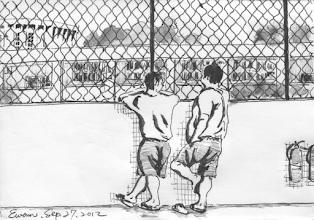 Photo: 看天2012.09.27鋼筆 今天天氣真真好 白雲藍天鳥兒叫 可我哥倆在囚籠 何時才能回家了?