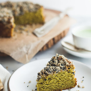 Gluten-free Matcha Cake with Black Sesame Streusel.