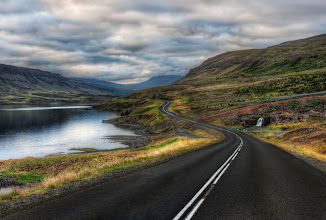 Photo: The Long Twisting Road with Tiny Waterfall  I had to wait for about an hour while a swarm of gnats died down to get this shot. I had never seen a storm of gnats (or mývatn, as they are called here) that bad since I was a kid with my dad in Alaska. But it just happens for one hour, and then they go away...