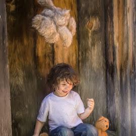 Throwing Teddy by Chris Cavallo - Digital Art People ( candid, barefoot, teddy bear, boy, jeans, laughter, digital art )