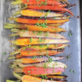 AIP / Paleo Oven Roasted Rainbow Carrots with Orange Glaze.