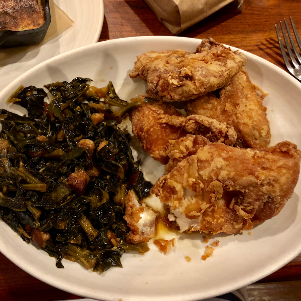 Super yummy fried chicken, delish braised greens, & spoon bread!!