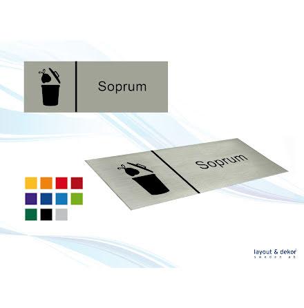 Pictogramskylt. SOPRUM 225x80mm, borstad aluminium