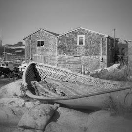 No Longer Sea Worthy by Lena Arkell - Black & White Landscapes ( peggy's cove, old, nova scotia, atlantic, fishing village, boat, antique, abandoned )