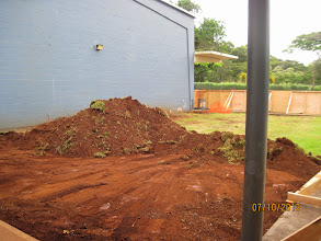 Photo: They started digging in the area by the cafeteria which will house the custodial room, two restrooms, and the JPO room.  First, though, the water valve will have to be moved.