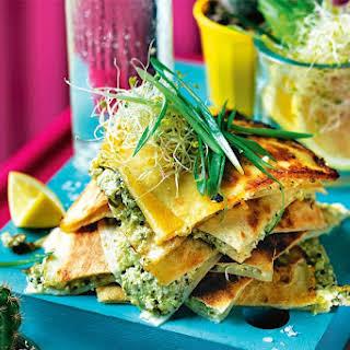 Broccoli, Lemon And Cottage Cheese Quesadillas.
