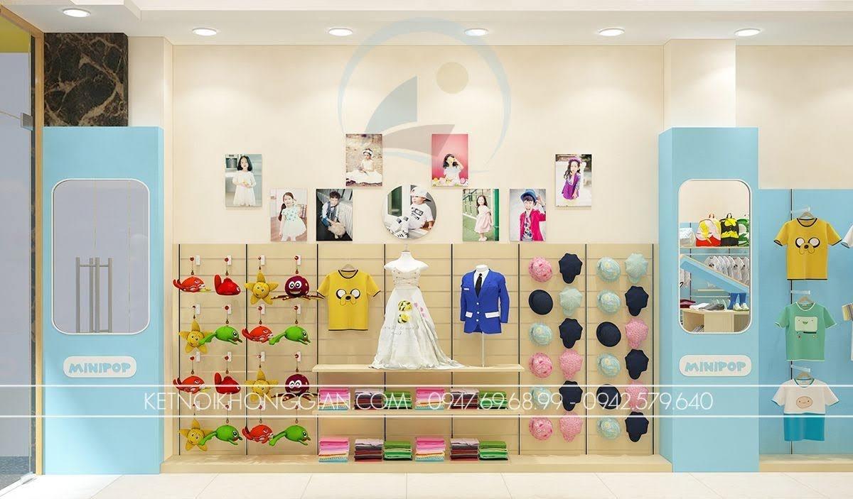 thiết kế shop thời trang trẻ em cuốn hút