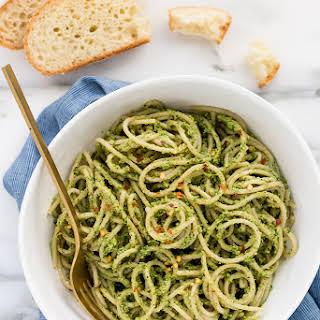 Roasted Broccoli-Pepita Pesto Pasta (vegan, gluten-free).