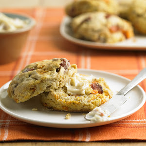 Bacon and Sweet Potato Biscuits with Smoky Honey Butter