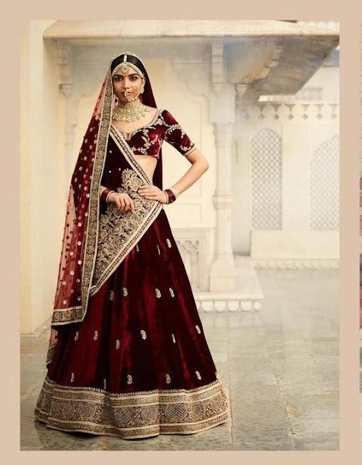 Maroon Velvet Bridal Lehenga Designer