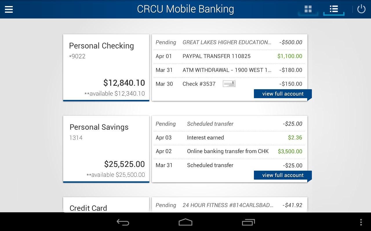 CRCU Mobile Banking- screenshot