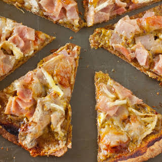 Ham and Brie Pizza with Homemade Honey Mustard Sauce.