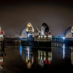 Thames Barrier, Night. by Phil Clarkstone - Buildings & Architecture Bridges & Suspended Structures