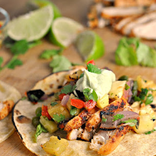 Chili Lime Chicken Tacos with Grilled Pineapple Salsa.