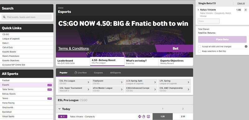 csgo betting at betway