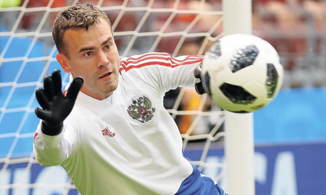 Russia's Igor Akinfeev during the World Cup host team's training session at Luzhniki Stadium, Moscow.