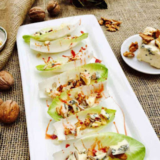 Blue Cheese, Walnut And Date Syrup Little Boats.