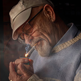 the smoker by Gary Parnell - People Portraits of Men ( smoker, cigarette, people )