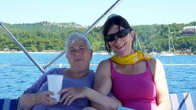 Photo: Sailing out of Koukounaries beach
