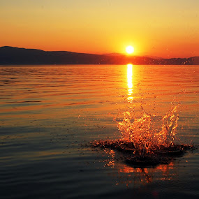 Sunset Ohrid by Katerina Mavrovska - Landscapes Sunsets & Sunrises
