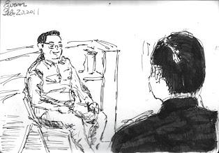 Photo: 2011.02.20鋼筆 今天教化科長值班,督勤之餘坐在中央台和大伙聊聊,只是我畫完了根本不敢給他看,因為畫不像,而且把他畫太胖了…