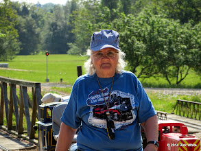 Photo: Mary Lou Pasley with conductor's whistle and radio.     HALS Public Run Day 2014-0419 RPW  10:11 AM
