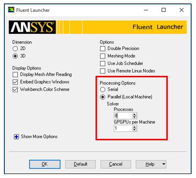 ANSYS Fluent - Настройки, доступне при выборе опции «параллельные вычисления»