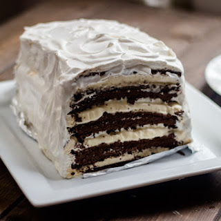 Easy Chocolate Vanilla Ice Cream Cake (with ice cream sandwiches).