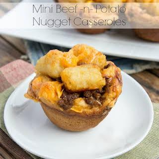 Mini Beef and Potato Nugget Casseroles.
