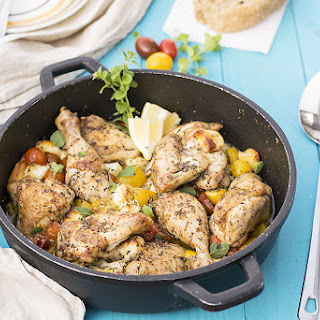 Baked Greek Chicken with Halloumi and Heirloom Tomatoes Recipe