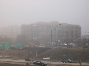 Photo: It was a very foggy day in Charlotte ... here's my office building as seen from Bank of America Stadium.