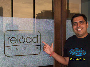 Photo: Piyush shows off his geek shirt outside the Ahmedabad office